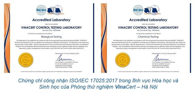 Chứng chỉ công nhận ISO/IEC 17025:2005 lĩnh vực hóa học đối với hai phòng thử nghiệm VinaCert