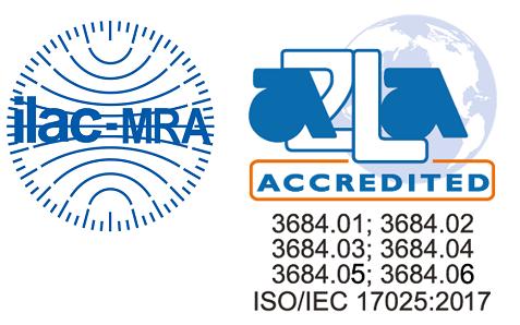 Dấu hiệu của sự thừa nhận toàn cầu ILAC-MRA A2LA trên phiếu kết quả thử nghiệm của VinaCert