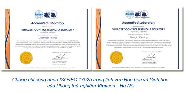Chứng chỉ công nhận ISO 17025 lĩnh vực hóa học