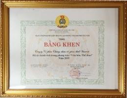 Công đoàn VinaCert nhận bằng khen của Liên đoàn Lao động TP.Hà Nội