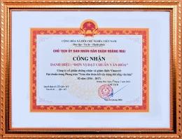 """UBND quận Hoàng Mai công nhận VinaCert là """"Đơn vị đạt chuẩn văn hóa"""""""