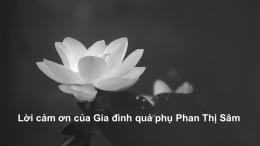 Lời cảm ơn của Gia đình quả phụ Phan Thị Sâm