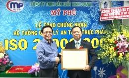 VinaCert trao Chứng chỉ ISO 22000:2005 cho Công ty TNHH sản xuất kinh doanh Mỹ Phú