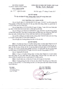 Cục Chăn nuôi chỉ định VinaCert là Tổ chức chứng nhận VietGAP chăn nuôi