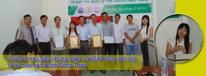 VinaCert trao giấy chứng nhận VietGAP thủy sản cho 19 hộ nuôi cá tra tỉnh Đồng Tháp