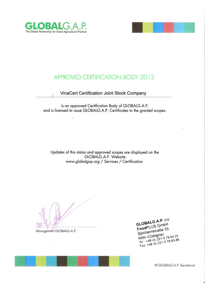 VinaCert có đầy đủ năng lực đánh giá chứng nhận tiêu chuẩn GlobalG.A.P